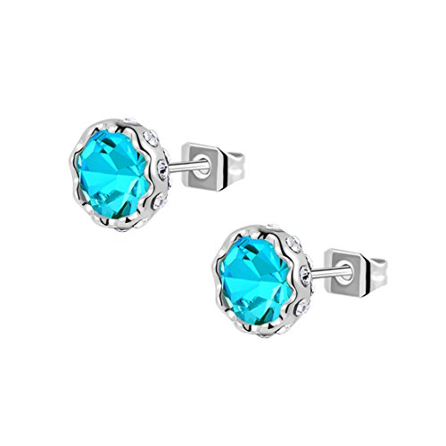 Diamond with Screw Back and Post Platinum Plated Stud Pink Blue Rhinestone Flower Earrings (Earrings Rhinestone Back Pink Screw)
