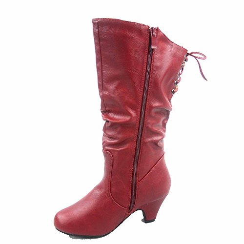 Picture of Win-40k Girl's Youth Fashion Round Toe Low Heel Slouch Half Back Lace Zipper Boots Shoes