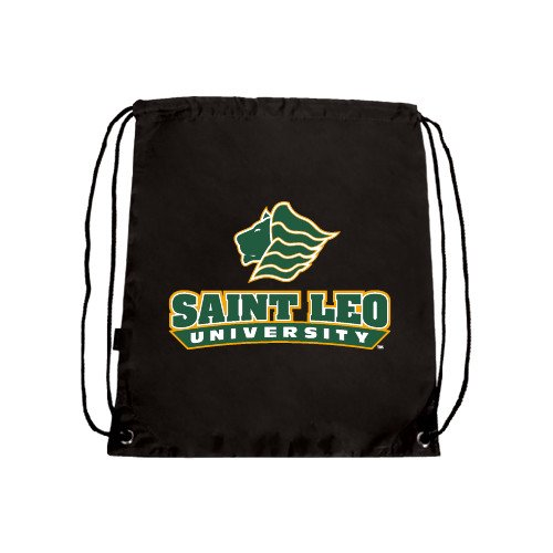 CollegeFanGear Saint Leo Black Drawstring Backpack 'Saint Leo University - Official Logo'