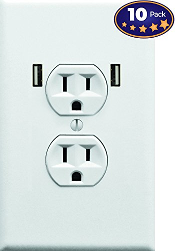 Fake Electrical Outlet & USB Wall Plate Sticker 10 Pack. Quirky Prank to Fool Starbucks Guests, Airport Travelers, & House Guests Wholl Think They Found An Open Plug To Charge Their Electronic Devices