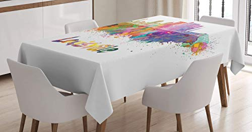 VAMIX Kentucky Tablecloth, Watercolor Paint Splashes Grunge City Silhouettes Rainbow Louisville Lettering, Dining Room Kitchen Rectangular Table Cover, 52 W X 70 L Inches, Multicolor ()