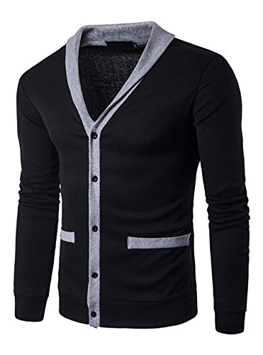 Zity Men's Long Sleeve Button Down V-Neck Knitted Cardigan With Pockets Black XL