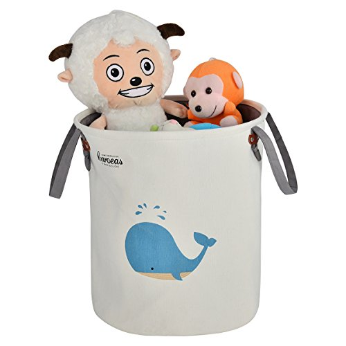 CAROEAS Whale Nursery Organizer Portable Fabric Laundry Bag Waterproof with Soft Handles Flexible for Kids' Toys, Pet Supplies, Children Books-Perfect for Kidsroom & Shelves ()