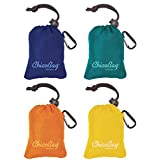 Reusable Shopping Tote/Grocery Bag 4 Pack Assortment (1 Mazarine,1 Aqua,1 Orange,1 Yellow)