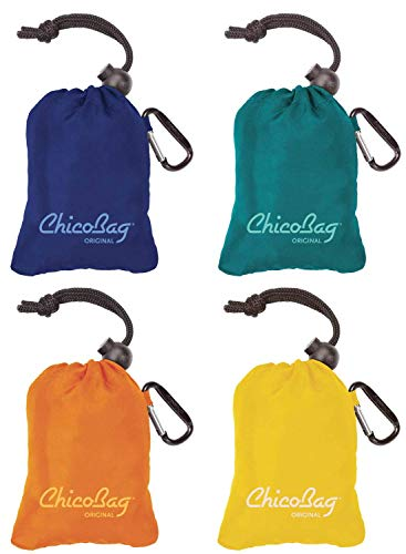 ChicoBag Original Reusable Shopping Tote / Grocery Bag (Variety 4 Pack - Mazarine Blue, Aqua, Orange Peel, and Yellow)