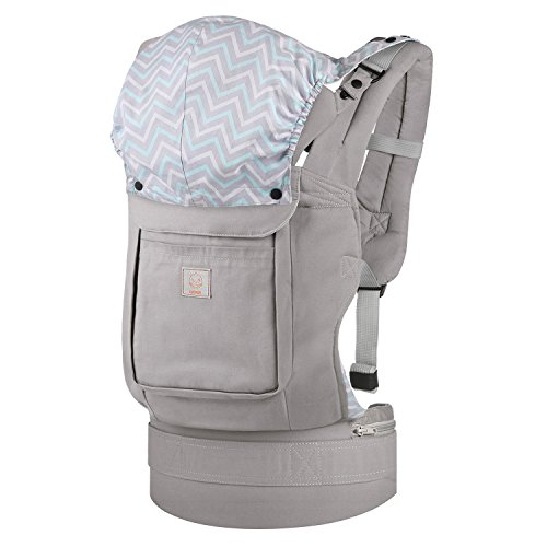 GAGAKU Ergonomic Baby Carrier Soft Cotton Front and Back Child Carrier with Detachable Hood for all Seasons (5-48 Months)- Grey by GAGAKU