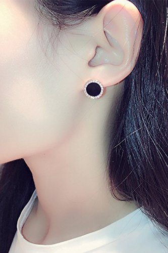 ultra cents korean fashion s925 silver needle earrings earings dangler eardrop personalized fashion luxury flash diamond black onyx round one hundred creative gift woman women girls birthday gift