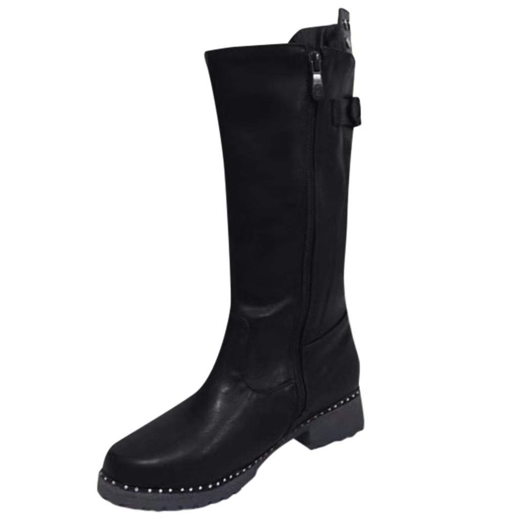 Opinionated Women's Short Buckle Strap Zip-Up Motorcycle Boot Wide Calf Knee-High Riding Boot by Opinionated