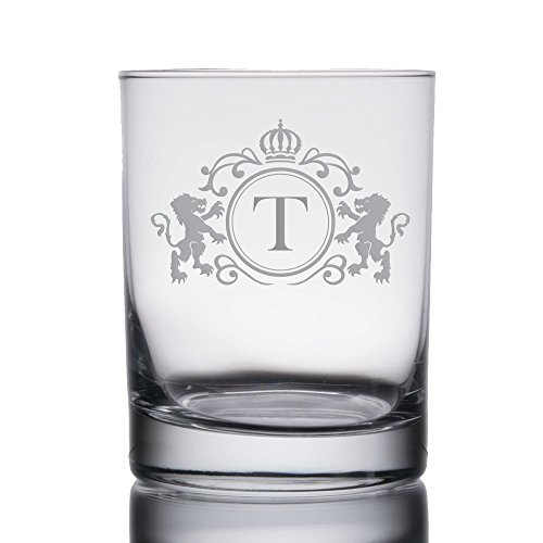 Monogrammed Initial Heavy Base 13.5 oz Double Rocks/Old Fashioned Glass (Letter: T) -