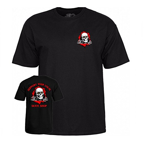 (Powell-Peralta Support Your Local Skate Shop - Black Large T-Shirt )