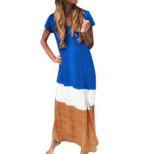 Womens Dresses Tie-Dyed Color Block Long Dress Casual Loose V Neck Short Sleeve Maxi Dress Plus Size S-5XL Chaofanjiancai Blue