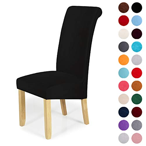 Velvet Stretch Dining Chair Slipcovers - Spandex Plush Short Chair Covers Solid Large Dining Room Chair Protector Home Decor Set of 4, Black (Furniture Barrel Dining Room Crate And)