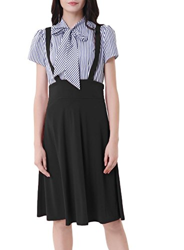Belle Poque Women's High Waist Strap Pinafore Suspender A-Line Suspender Skirts Black Size M BP1008-1