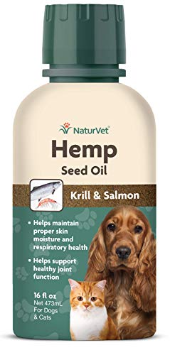 NaturVet - Hemp Seed Oil - Plus Krill & Salmon | Supports Proper Skin Health & Respiratory Health & Joint Function | for Dogs & Cats (16 oz Oil)