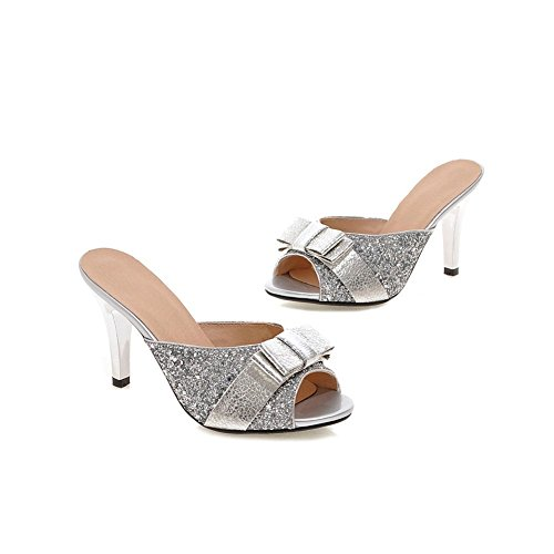Lucksender Womens High Heels Bow Slippers Sandals with Sequins Silver wMKMAvz