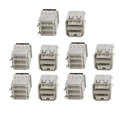 Amazon.com: eDealMax 10 piezas de Doble capa USB A hembra Jack Recta Soldadura Conector: Electronics