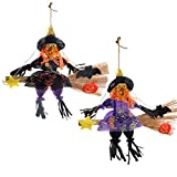 IFOYO Halloween Decorations Witch Broom, 2 Pack Large Hanging Scarecrows for Halloween Decor Ornaments Holiday Season Festive Decor Props for Kids, (13.8x15.8in / 35x40cm)