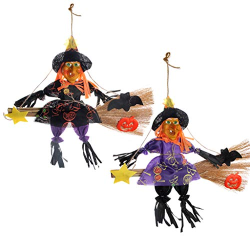 IFOYO Halloween Decorations Witch Broom, 2 Pack Large Hanging Scarecrows for Halloween Decor Ornaments Holiday Season Festive Decor Props for Kids, (13.8x15.8in / 35x40cm)]()