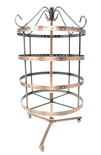 4 Tiers Copper Color Rotating 92 pairs Earring Holder ~Necklace Organizer Stand ~ Jewelry Stand Display Rack ()