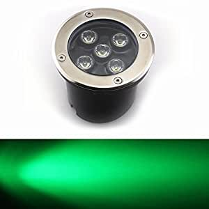 E-Age 12v In Ground Landscape Path Light Outdoor Lighting With Brushed Stainless Steel (Green, 5W)