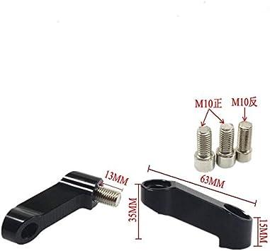 Color : Black PUXINGPING CNC Motorcycle Rearview Mirrors Extension Riser Extend Adapter For Yamaha YBR250 YBR125 YS150 YS250 XJ6 XJR1300 FZ6 FZ1 FZ8 MT07