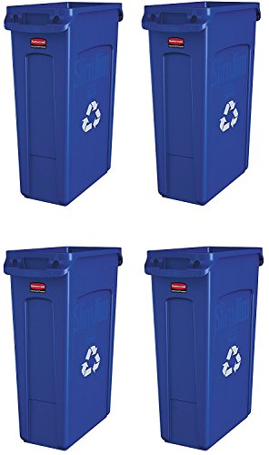 Rubbermaid Commercial Slim Jim Recycling Container with Venting Channels, Plastic, 23 Gallons, Blue (354007BE) (4 Cans (Rectangular)) (Recycling Bins Slim Jim)