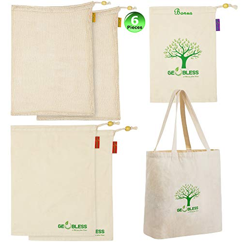 Geobless Reusable Produce Bags (6 Pc. Set) GOTS Certified Organic Cotton Muslin Net Mesh and Eco-Friendly Canvas Tote   Medium, Large, X-Large   Tare Weight Labels, Wood Bead Toggle