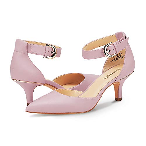 JENN ARDOR Women's Kitten Heel Pumps Ladies Closed Pointed Toe D'Orsay Sandals Ankle Strap Leather Dress Stiletto Pink 6 (9.1in) - Ladies Pink Leather Strap