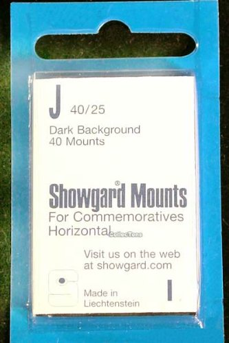 Showgard Pre-Cut Black Stamp Mounts Size J40/25 (Cut Mounts Pre)