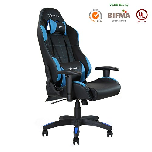 Ewin Gaming Chair With Adjustable Armrest And Backrest High-back Ergonomic Computer Chair , Leather Swivel Executive Office Chair (Chair Video Dxracer Game)