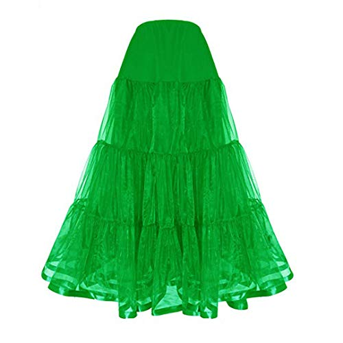 Women's Floor Length Wedding Petticoat Long Underskirt Formal Dress (XL, Green) -