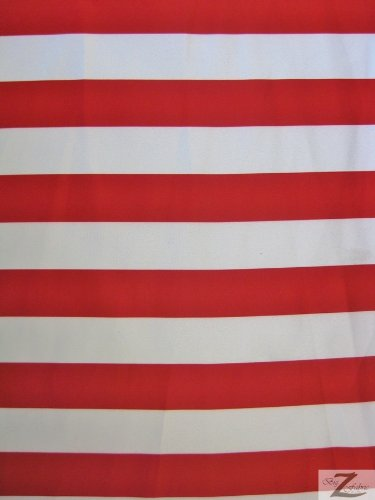 Striped Bridal Satin Fabric - Red/White 1