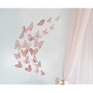 pinkblume Rose Gold Butterfly Decorations 3D Wall Decals Metallic Art Sticker DIY Man Made Removable Decorative Paper Murals for Home Living Room Kids Girls Bedroom Nursery Party Decor(36PCS)