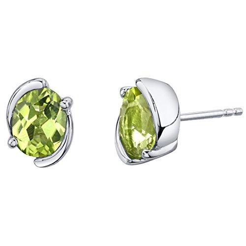 Peridot Sterling Silver Bezel Stud Earrings 2.50 Carats Total ()
