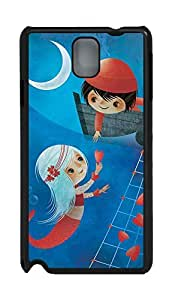 Boy and Sea-maid Girl Case Shell for Samsung Galaxy Note 3 N9000,Customized Black Hard Plastic Cover Skin for Samsung Galaxy Note 3 N9000,Quote Samsung Galaxy Note 3 Case