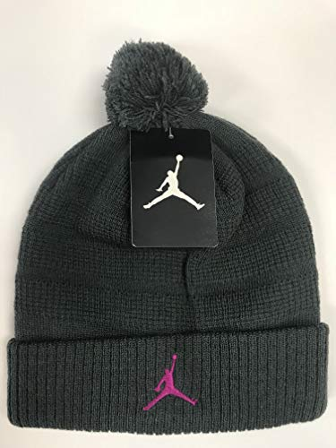 8cf5678c1 Nike Air Jordan Unisex Jumpman Knit Winter Cuffed Pom Beanie Ski Cap Hat,  Anthracite Wolf Grey/Pink, 8/20