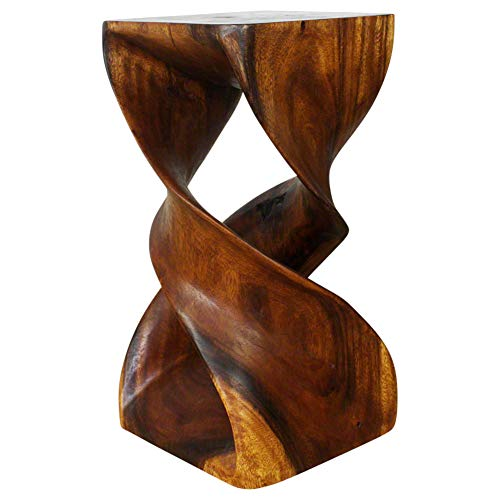 Haussmann Eco End Table Stool Double Twist 12 in SQ x 23 in High Walnut Oil ()