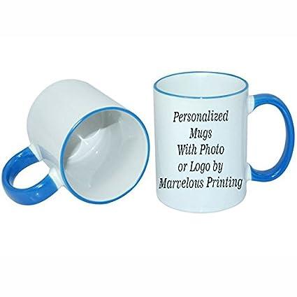 amazon com create a custom 11oz blue trim mug kitchen dining