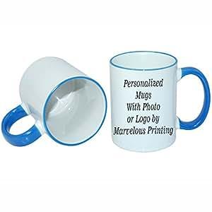 Amazon Create a Custom 11oz Blue Trim Mug Kitchen & Dining
