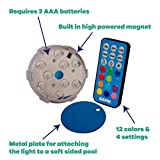 """GAME 4306-BB Waterproof Magnetic LED Color-Changing Pool Wall Light with Remote Control 100% Waterproof & Submersible, 3"""", Old Model"""