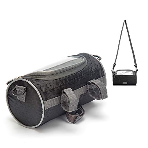 Urlite Adjustable and Removable Shoulder Strap Waterproof Bicycle Handlebar Bag with Transparent Pouch Touch Screen