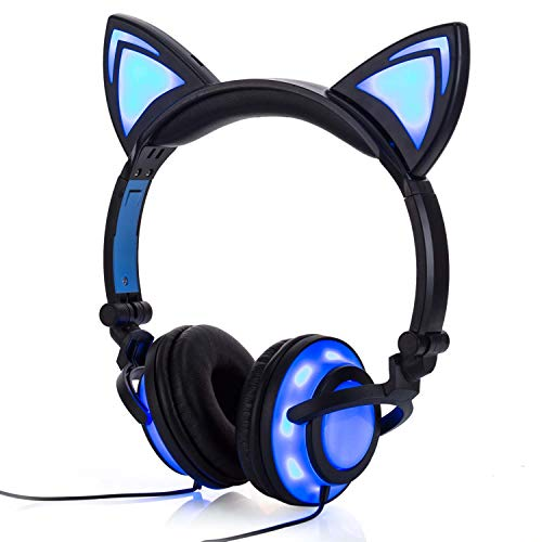 (Wired Cat Ear Headphones Glowing Lights with USB Charging Cable (Black))