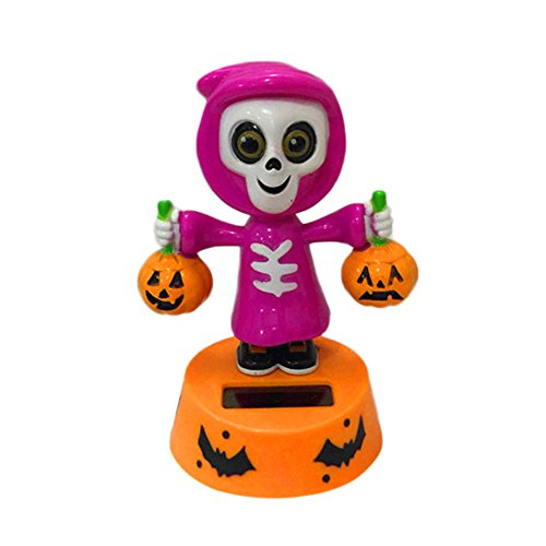 KaiCran 2017 New Solar Powered Dancing Halloween Swinging Animated Bobble Dancer Toy Car Decor (B)