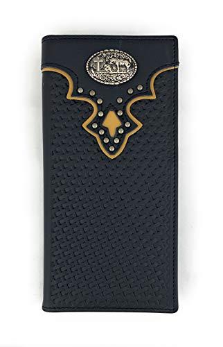 (Men's Western Rodeo Genuine Leather Concho Bifold Long Wallet (Christian Praying, Black))