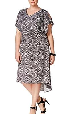 NY Collection Plus Size Cold-Shoulder Blouson Dress 1X