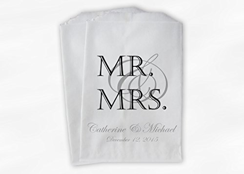 Formal Mr & Mrs Wedding Favor Bags for Candy Buffet in Gray and Black - Personalized Set of 25 Paper Bags (0163)
