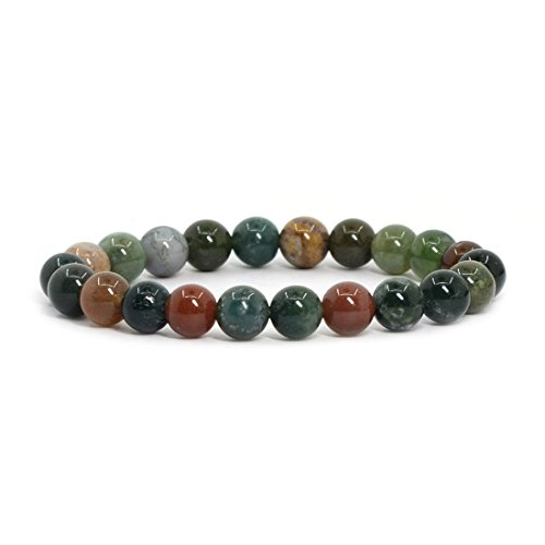 Natural Multicolor Indian Agate Gemstone 8mm Round Beads Stretch Bracelet 7