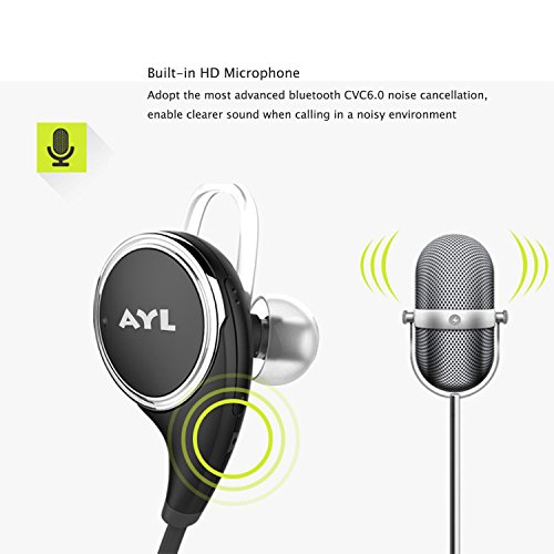 AYL Bluetooth Headphones V4.1 Wireless Sport Stereo In-Ear Noise Cancelling Sweatproof Headset with APT-X/Mic for Smartphones