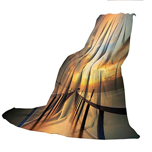 SCOCICI Comfortable Extra-Thick Blanket, Double-Sided Printing,Art,Wood Deck Bridge Along The Sea at Sunset Horizon with Dramatic Sky Autumn Scenery Print,Orange Blue,31.50