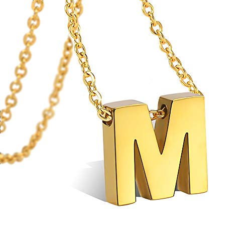 Initial Necklaces Gold M Personalized Letter for Women Girls Stainless Steel Script Tiny
